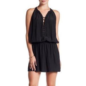 Ramy Brook Allie Black Lace Up Sleeveless Dress